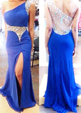 Gorgeous Royal Blue One Shoulder Crystal With Slit Floor Length Prom Dresses uk PM138