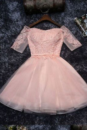 Cute Lace Tulle A-line Off the Should Half Sleeves Short Homecoming Dresses PM134