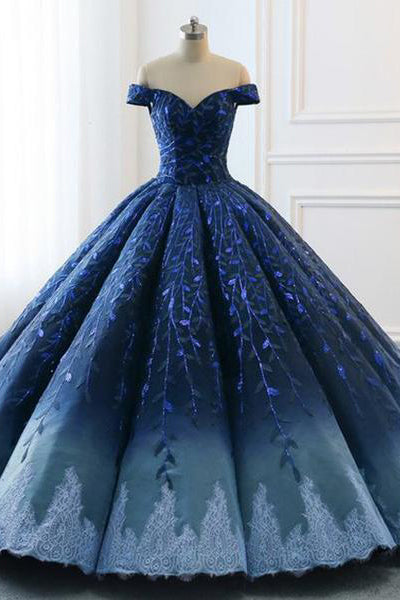 20e43192b30 Ball Gown Navy Blue Lace Applique Ombre Off the Shoulder Princess Prom  Dresses