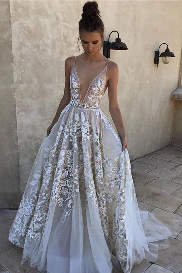 2018 A-Line White Long Tulle Deep V Neck Lace Sleeveless Appliques Prom Dresses uk PH850