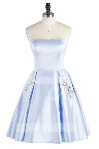 Light Sky Blue Strapless Satin Lace up Knee Length with Pockets Homecoming Dresses uk PH836