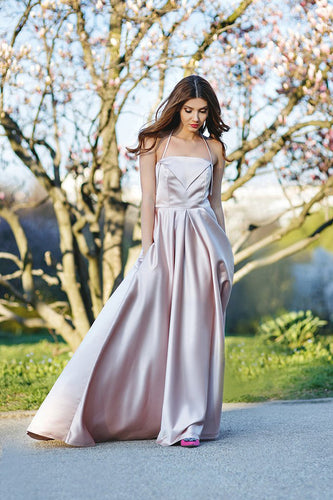 Elegant A-Line Halter Satin Long Sleeveless Backless Pink with Pockets Evening Dresses uk PH237