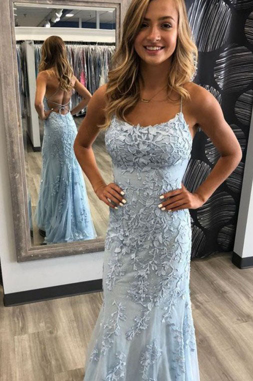 Mermaid Spaghetti Straps Light Blue Prom Dress with Appliques, Evening Dresses P1350