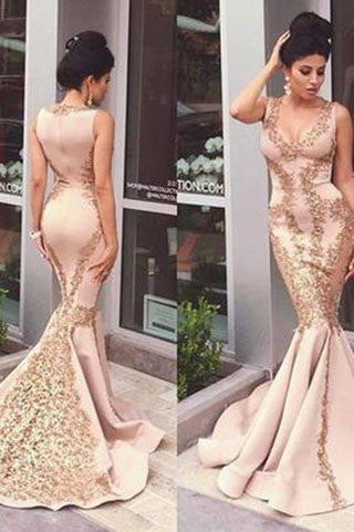 Lace Applique Mermaid Long Gold V-Neck Ruffles Sexy Straps Evening Dresses Party Dresses PH55