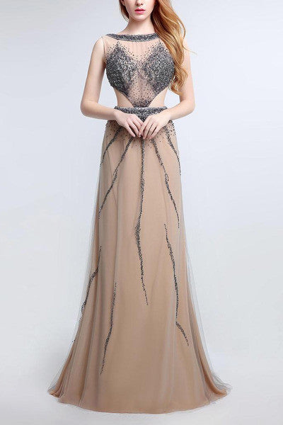 Champagne tulle sequins open back round neck full-length evening dresses, formal dresses