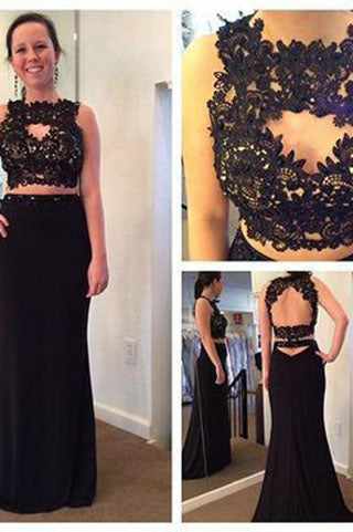 Two Pieces Black Lace Backless High Neck Open Back Sheath Mother of the Bridal Dresses PH24