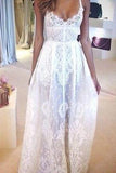 Flowy Full Lace Sexy Spaghetti Strap Applique Romantic Sheer Beach Wedding Dresses UK PH350
