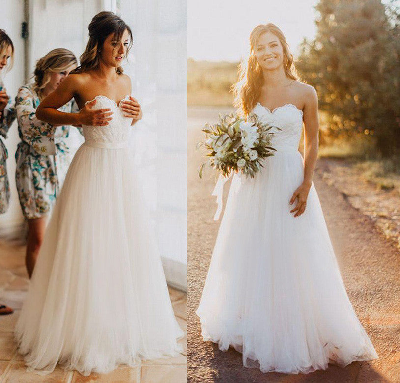 Simple Elegant Country Style Wedding Dresses With Lace: Elegant Tulle Beach 2018 Sweetheart Lace A Line Simple