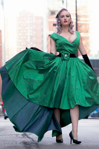 Elegant Sexy A-Line Deep V-neck Cap Sleeve High Low Green Taffeta Prom Dresses uk PH263