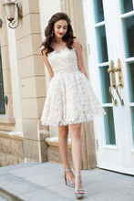 A-Line Princess Sweetheart Sleeveless Rhinestone Short Mini Lace Homecoming Dresses PH574