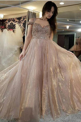 Beautiful Long Off the Shoulder A-Line Sweetheart Beads Organza Prom Dresses UK PH491