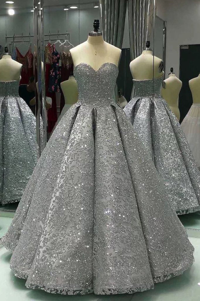 Sweetheart Gray Long Sequins Strapless Ball Gown Shiny