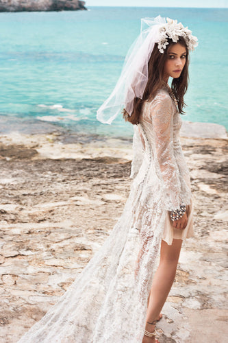 Spanish Summer Long Sleeve A-Line Lace Boho Beach Appliques Wedding Dresses uk PH270