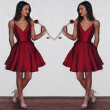 A-Line Burgundy Spaghetti Straps V-Neck Burgundy Short Homecoming Dress PM80