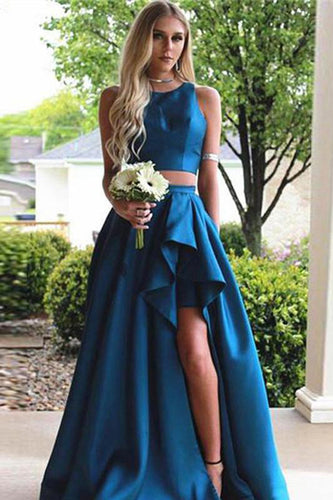 Simple Vintage Two Pieces A-line Blue Sleeveless Slit Long Scoop Woman Evening Dresses uk PH232