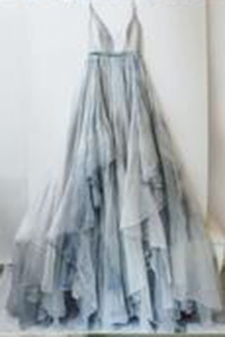 Long Spaghetti Straps Simple V Neck Tulle cheap Pretty Party Prom Dresses,Bridal gowns,PD0232