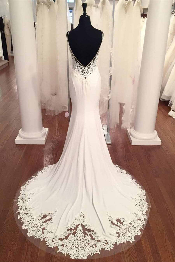 Spaghetti Strap V-Neck Vintage Lace Mermaid Backless Appliques Jersey Beach Wedding Dress PM882