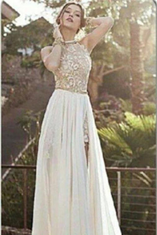 2017 Sexy Lace Backless Long Chiffon High Neckline Halter Side Slit Prom Dress uk Wedding Dress