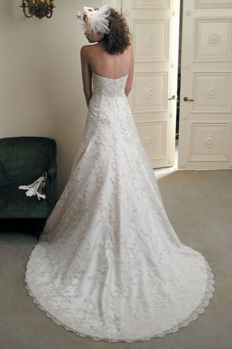 Elegant A Line Ivory Lace Appliques Sweetheart Strapless Sleeveless Long Wedding Dresses uk PH857