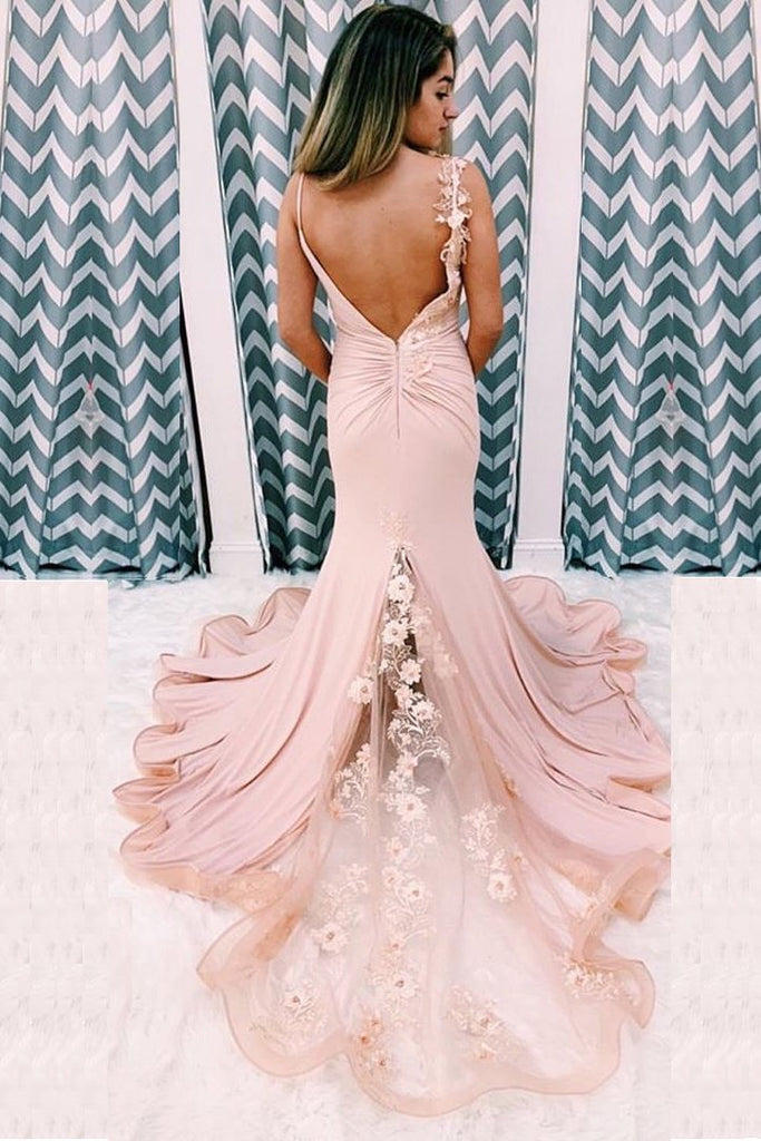 Unique Mermaid V Neck Spaghetti Straps Pink Prom Dresses, Cheap Party Dress W1432