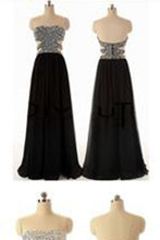 Sexy A-line Backless Long Black Beaded Bodice Slit Side Chiffon Evening Prom Dresses PH15