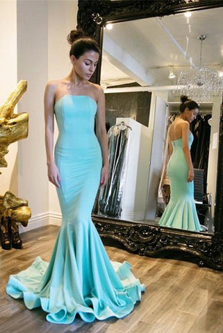 Sexy Elegant Strapless Mermaid Backless Long Green Backless Sleeveless Prom Dresses uk PH251