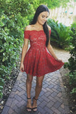 Stylish Gorgeous A-Line Off-Shoulder Red Lace Short Cute Mini Homecoming Dress PM195