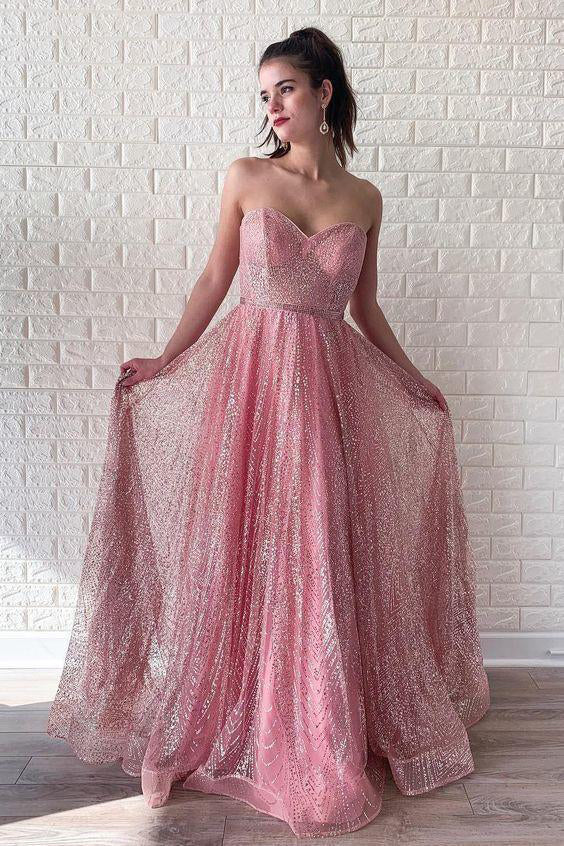 A Line Pink Sequins Strapless Sweetheart Prom Dresses, Sleeveless Party Dresses P1342