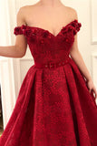 Charming Red Lace Off the Shoulder Prom Dresses, V Neck Handmade Flowers Party Dresses P1313