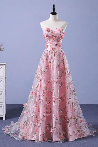 Pink A-line Sweetheart Strapless Sweep Train Floral Print Long Lace Prom Dresses with flowers PH524