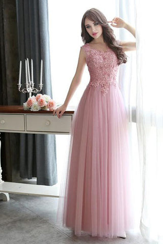 Modest Scoop Neck Tulle Pearl Detailing Lace-up Floor-length Sleeveless Prom Dresses uk PM632