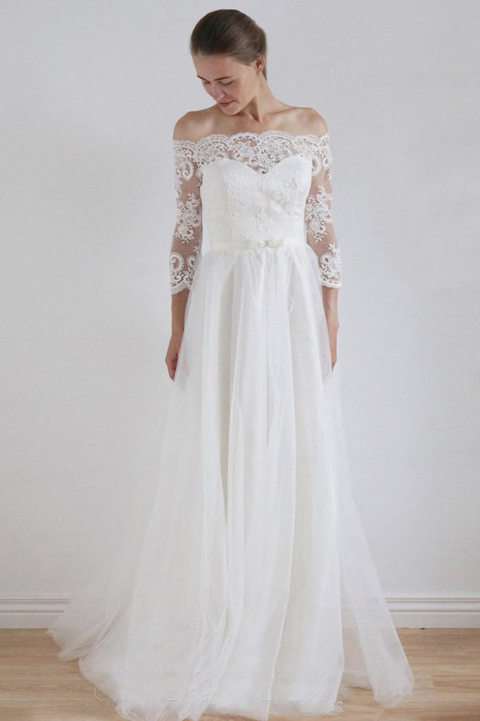 2017 A-Line Lace Scoop 3/4 Sleeve Appliques Tulle Floor-Length White Button Wedding Dresses uk PH176
