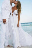 Sexy Deep V Neck White Chiffon Beach Elegant A-Line Bridal Floor-Length Wedding Dresses PM226
