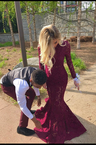 Charming High Neck Burgundy Long Sleeve Lace Mermaid Open Back Prom Dresses uk PH482