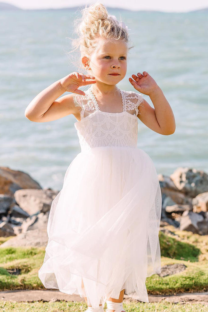 Cap Sleeves Lace Top Tulle Skirt Flower Girl Dresses, Beach Cute Little Girl Dresses FG1029