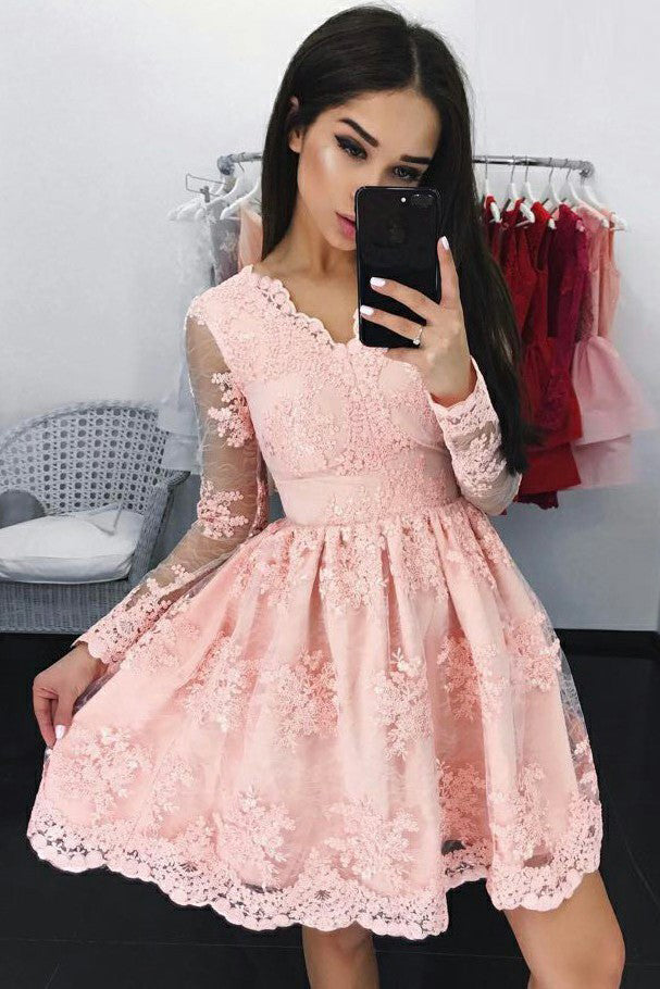 39375156fd Cute A Line Long Sleeves V Neck Pink Lace Appliques Above Knee Homecoming  Dresses uk PH795