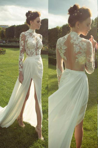 Gorgeous High Neck Long Sleeve See Through Lace Top Side Slit Ivory Chiffon Wedding Dress PM625