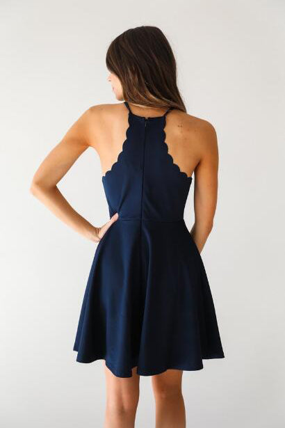 A Line Dark Navy Cute Halter High Neck Satin Short Homecoming Dress PM267
