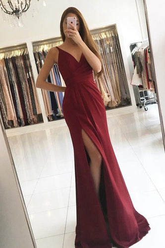 Elegant A Line Satin V-neck Ruffles Burgundy Side Split Sleeveless Prom Dresses PH621