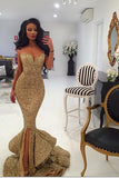 Spaghetti Straps Red Sequin Long Mermaid Front Slit Sparkle Long Prom Dresses uk PM520
