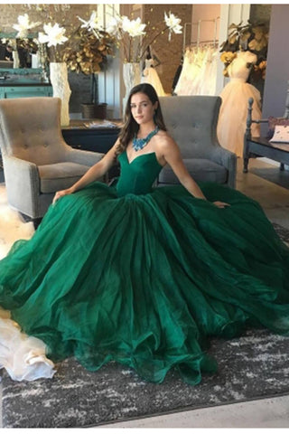 Elegant Green Ball Gown Sweetheart Strapless Sleeveless Quinceanera Prom Dresses UK PH479