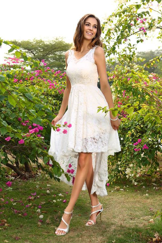 A-Line Princess V-Neck Lace Sleeveless Asymmetrical Lace High Low Bridesmaid Dresses PM286