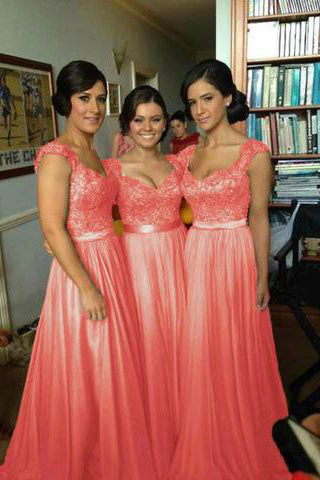 Coral Chiffon Corset Long Bridesmaids Dress,Formal Prom Dress PM534