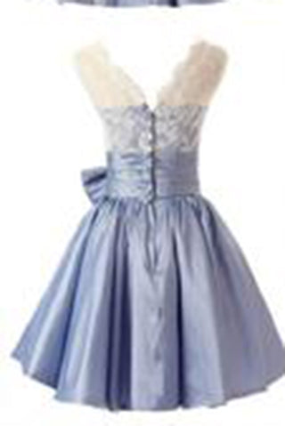 Fashion A-line Scoop Short Taffeta Blue Homecoming/Bridesmaid Dress With Bowknot PM478