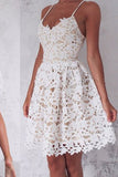 A-Line Spaghetti Straps Lace up Ivory Lace Short Sleeveless Sweet 16 Cocktail Dress PH744