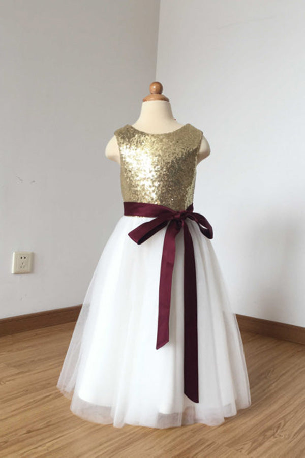 669c910b001 2018 A Line Simple Light Gold Sequin Ivory Tulle Scoop Flower Girl Dress  with Burgundy Sash