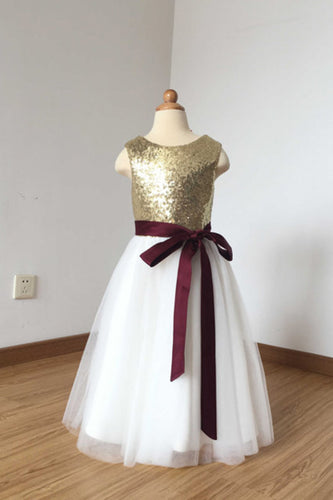 2018 A Line Simple Light Gold Sequin Ivory Tulle Scoop Flower Girl Dress with Burgundy Sash PH774