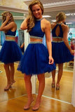 Two Piece Scoop Short Tulle Backless Royal Blue Cocktail Homecoming Dress with Beaded PM455