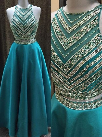Two Pieces Beaded Crew Neck Prom Dress-Zipper-up Satin Long Prom Dresses uk PM842