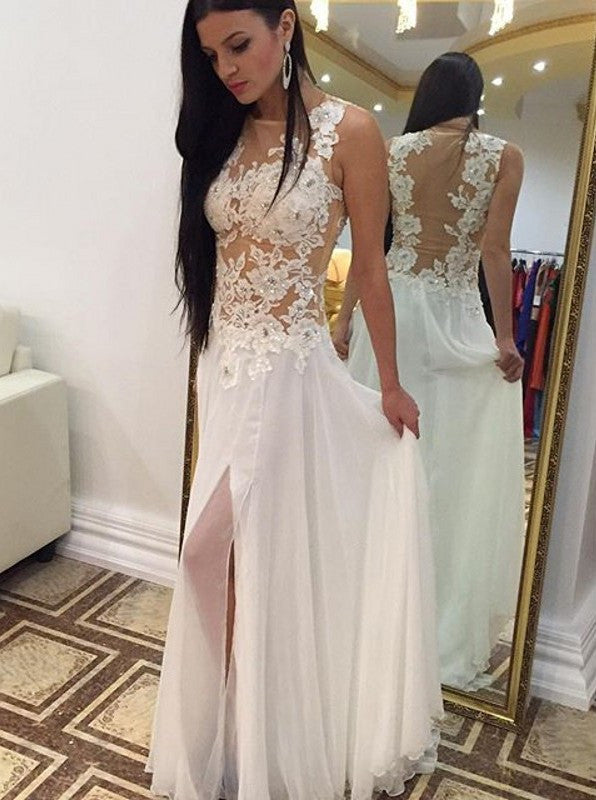Sexy A-line Crew Floor-Length Chiffon Sleeveless Beaded Appliques White Prom Dresses uk PM661